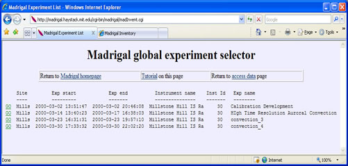 Madrigal experiment listing page